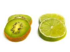 Free Isolated Kiwi And Lime Slices Stock Images - 5746194