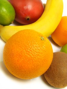 Free Fresh Oranges, Banana, Mango, Kiwi, Limes Royalty Free Stock Photos - 5746198