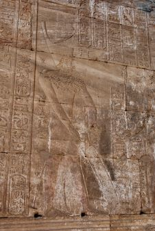 Stone Carvings At The Temple Of Edfu, Egypt Royalty Free Stock Images