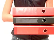 Girl With Three Folders In Hands Stock Photography