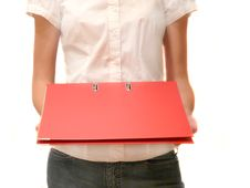Free Girl With Red Folder In Hands Royalty Free Stock Photos - 5748328