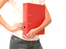 Free Girl With Red Office Folder In Hand Royalty Free Stock Photos - 5748518
