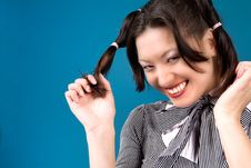 Free Grinning With My Ponytails Royalty Free Stock Photo - 5748975