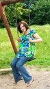 Free Pregnant Woman On Swing Stock Image - 5755651