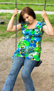 Free Pregnant Woman On Swing Stock Image - 5755731