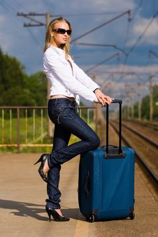 Free Young Lady Waiting For A Train Stock Image - 5750491