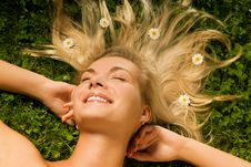 Free Woman Relaxing On A Meadow Royalty Free Stock Images - 5750539