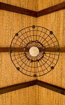 Bamboo Roof And Light Fixture Royalty Free Stock Images