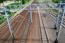 Free Perspective Of Crossing Rails Stock Photography - 5751012