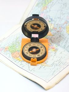 Free Compass And Card - Travel Concept Stock Photography - 5751732