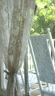 Free Window Lace And Rocking Chair Royalty Free Stock Photography - 5752007