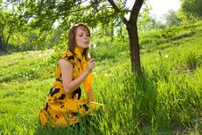 Free Girl And Dandelion Stock Images - 5752714