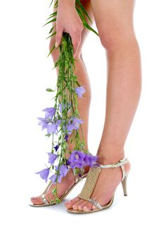 Free Long Legs On High Heels With Flowers Stock Images - 5753614