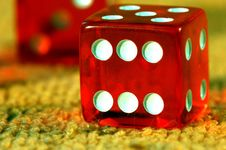 Red Dice To Play, Play Dice. Stock Photo