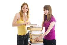 Free The Two Young Students Isolated On A White Stock Photography - 5754112