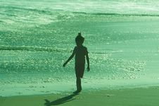 Free Silhouette Of Walking Girl On Beach At Sunset Royalty Free Stock Images - 5754539