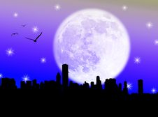 Free City In The Moon Stock Image - 5754701