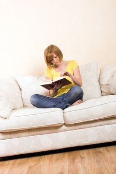 Free Woman Is Reading On A Lounge Stock Image - 5755241