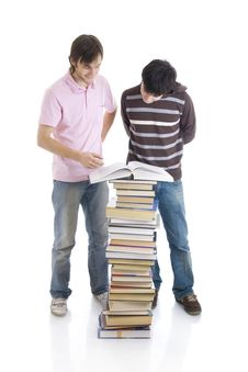 Free The Two Young Students Isolated On A White Stock Photography - 5755542