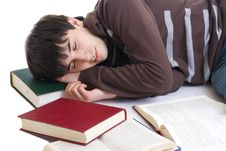 The Sleeping Student With The Books Isolated Royalty Free Stock Image