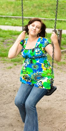 Free Pregnant Woman On Swing Stock Photos - 5755673