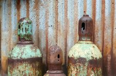 Rusty Acetylene And Oxygen Tanks Royalty Free Stock Image