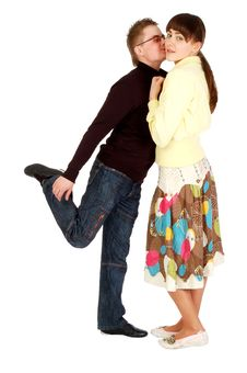 Free Handsome Guy Kisses  A Girl Standing On One Leg Stock Photography - 5756782