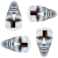 Many Open Heads Tile Pattern Background 2 Royalty Free Stock Image