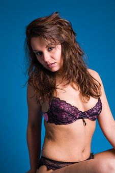 Free Fresh Girl In Purple Lingerie Stock Photography - 5756942