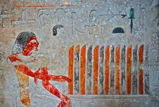 Free Egyptian Painting With Hieroglyphs Royalty Free Stock Photography - 5758737