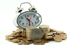 Free Coins And Hours-alarm Clocks Stock Photo - 5759440