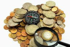 Free Compass, Coins And Magnifying Glass Stock Image - 5759491