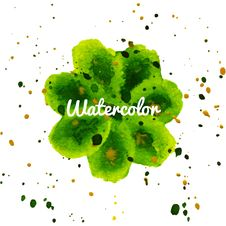 Green Flower Splash Watercolor Hand Drawn Background Stock Image