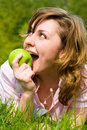Free Pretty Woman Eating Green Apple Royalty Free Stock Photo - 5762075