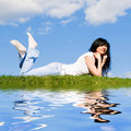 Free Woman Rest On The Green Grass Royalty Free Stock Image - 5762436