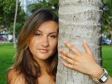 Free Female Hugging A Tree Stock Photos - 5760573