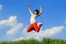 Free Young Woman Is Jumping Royalty Free Stock Image - 5762106