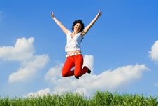 Free Young Woman Is Jumping Royalty Free Stock Photos - 5762128