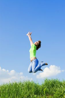 Free Young Woman Is Jumping Stock Images - 5762294