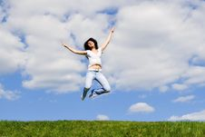 Free Young Woman Is Jumping Stock Photo - 5762390