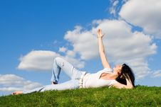 Free Woman Rest On The Green Grass Stock Photo - 5762550