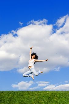Free Young Woman Is Jumping Royalty Free Stock Image - 5762566