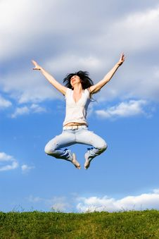Free Young Woman Is Jumping Stock Photo - 5762620
