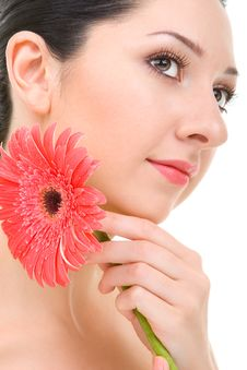 Free Woman With Gerber Flower Royalty Free Stock Photography - 5762707