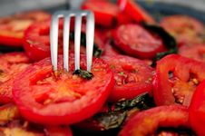 Tomatoes Salad And A Fork Royalty Free Stock Photo