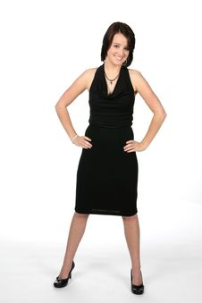 Free Pretty Teen Standing Strong In Black Dress Royalty Free Stock Photography - 5762987