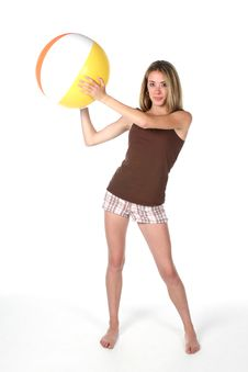 Free Fit And Slender Teen With Beach Ball Royalty Free Stock Images - 5763179