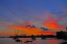 Sunset, Cloud And Boat At The Seaside Stock Photography
