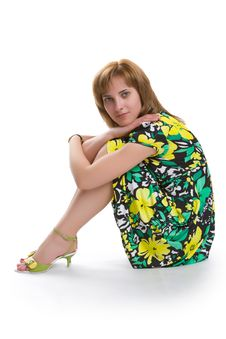 Girl In A Green Dress Stock Image