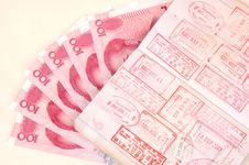 Free Passport With Stamps And Chinese Money Royalty Free Stock Photo - 5766675